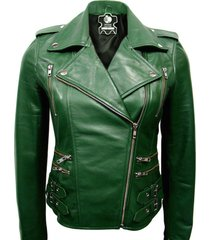 new women belted handmade woman green retro short leather jacket