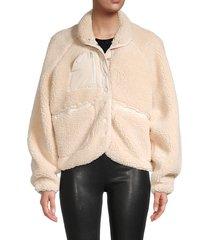 lea & viola women's oversized fleece jacket - ivory - size s
