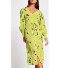 river island womens lime floral tie waist midi dress