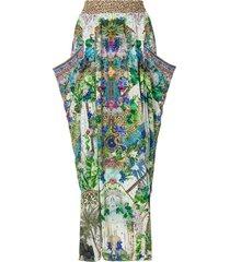 camilla moon garden shirred maxi skirt - multicolour