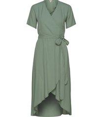 melanie wrap dress knälång klänning grön residus