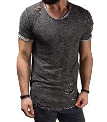 verano de algodón camiseta de los hombres de la moda del agujero de-gris