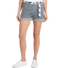 dickies juniors' railroad-striped belted shorts