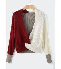 suéter de manga larga con cuello en v y vuelta de patchwork