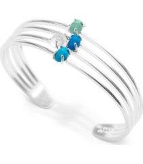 lucky brand silver-tone stone multi-row cuff bracelet
