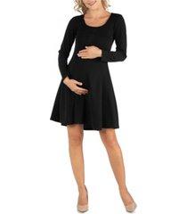 24seven comfort apparel simple long sleeve knee length flared maternity dress