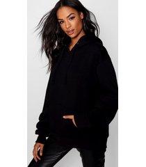 tall oversized effen hoodie, zwart