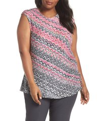plus size women's nic+zoe spiced up ruched tank, size 3x - pink