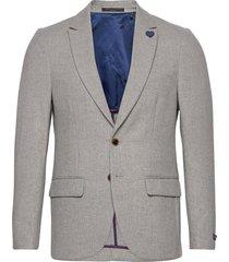 classic single-breasted neps wool-blend blazer blazer kavaj grå scotch & soda
