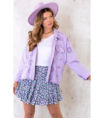 denim embroidery jacket lila