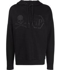 philipp plein statement hooded sweatshirt - black