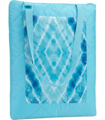martha stewart collection quilted tie-dyed diamond grid convertible beach blanket, created for macy's bedding