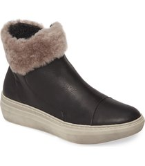 women's cloud quies wool lined bootie with genuine shearling cuff, size 6us - black