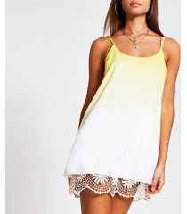 river island womens yellow ombre crochet mini beach dress
