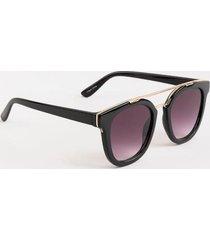 danica metal brow round sunglasses - black