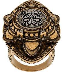 alexander mcqueen oversized engraved ring - gold
