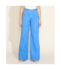 calça de sarja feminina mindset wide reta cintura super alta azul