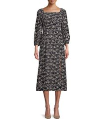 sanctuary women's squareneck moody floral-print midi dress - winter fresh - size 4