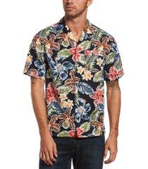 original penguin men's tropical floral-print camp shirt