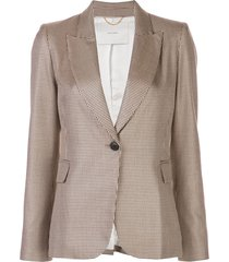 adam lippes fitted single-breasted blazer - brown