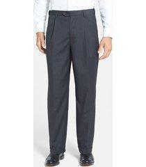 men's berle self sizer waist pleated lightweight plain weave classic fit trousers, size 35 x - black