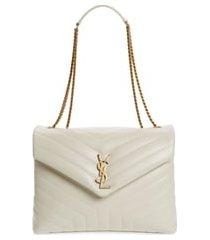 saint laurent medium loulou matelasse leather shoulder bag - ivory