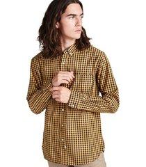 camisa cuadros abotonada manga larga amarillo sioux