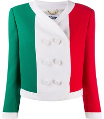 moschino italian flag print cropped jacket - white