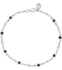 14k white gold, black & white diamond station bracelet
