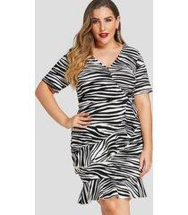 plus talla cruzada delantera zebra vestidos con cuello en v