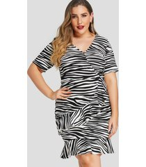 tallas grandes frente cruzado zebra vestidos con cuello en v