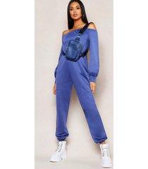 off shoulder pocket detail lounge jumpsuit, denim-blue