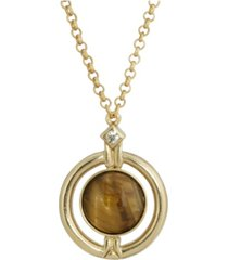2028 gold-tone round tiger eye semi precious stone necklace
