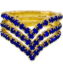 anel horus import azul safira triplo banhado ouro amarelo 18 k - 1010102
