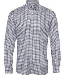 blue & navy overcheck flannel shirt skjorta business blå eton