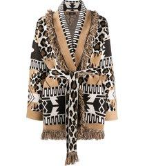 alanui multi-pattern knitted cardigan - brown
