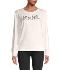 karl lagerfeld paris women's embellished logo sweatshirt - white - size m