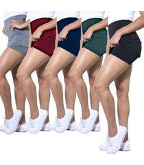 kit 5 shorts saia heide ribeiro leg basic academia - feminino
