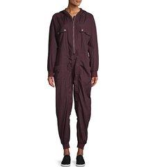 hooded zip-front jumpsuit