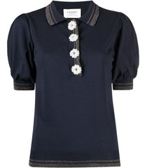 snobby sheep decorative-button polo shirt - blue