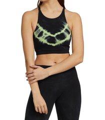 electric & rose women's grayson acid wash crop sports bra - onyx neon - size m