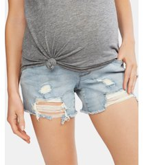 jessica simpson maternity frayed denim shorts