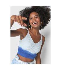 regata cropped tricot lez a lez degradê azul