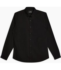 mens black slim fit long sleeve shirt