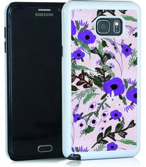 dark purple flowers on light purple cell phone case for note 5