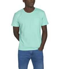 camiseta menta luck & load cuello redondo con bolsillo