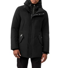 men's mackage edward water repellent hooded down coat, size 40 - black