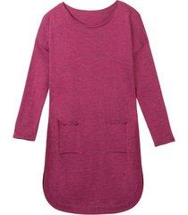 soepelvallende gebreide jurk met rondlopende zoom van zuivere bio-wol, azalea 44