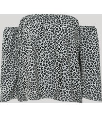 blusa feminina ombro a ombro estampada animal print onça manga 7/8 bege claro