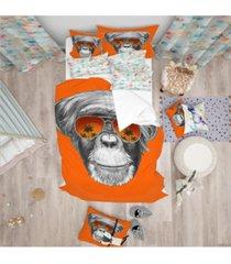 designart 'monkey with mirror sunglasses' tropical duvet cover set - twin bedding